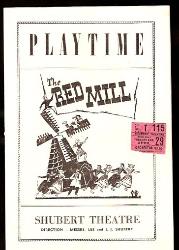 1947 PLAYBILL THE RED MILL SHUBERT THEATRE BOSTON JACK ALBERTSON + TICKET STUB
