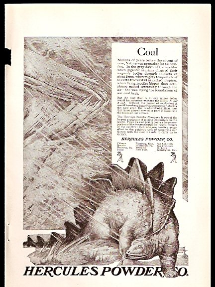 1918 AD HERCULES POWDER CO WITH DINOSAUR