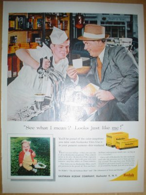 1958 FULL PAGE AD KODAK FILM WITH SODA JERK & FOUNTAIN