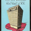 HOTEL CHESTERFIELD NEW YORK CITY AD CARD 758