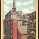 OLD SOUTH CHURCH BOSTON MA. MASS. YELLOW BORDER LINEN 796
