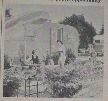 1949 ADS TRAILER COACH LIVING HUSBAND WIFE SON ON PATIO UNIVERSAL BEAM-O-LITE IRON MODERN HOUSEWIFE