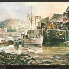FISHING BOATS WHARF BUILDINGS JAMES MURRAY WATERCOLOR 919