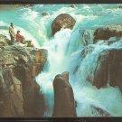 MAN & WOMAN ADMIRING SUNWAPTA FALLS ICEFIELDS HIGHWAY CANADIAN ROCKIES 936