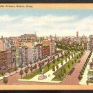 GOLD BORDER LINEN POSTCARD BIRDS EYE VIEW COMMONWEALTH AVENUE BOSTON MA. 943