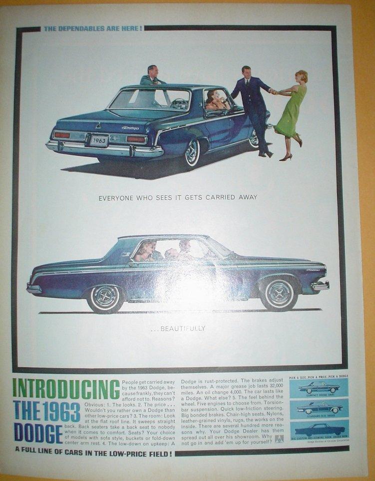 INTRODUCING THE 1963 DODGE DART 2-DOOR LIFE MAGAZINE ORIGINAL FULL PAGE AD