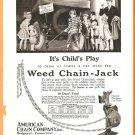 ORIGINAL 1918 WEED CHAIN JACK AD AMERICAN CHAIN BRIDGEPORT CT CONNECTICUT