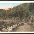 North Curve Charlemont MA Mohawk Trail With Vintage Auto White Border 973