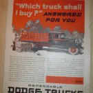 LARGE ORIGINAL 1931 DODGE FARM TRUCK AD $595 f.o.b. Detroit