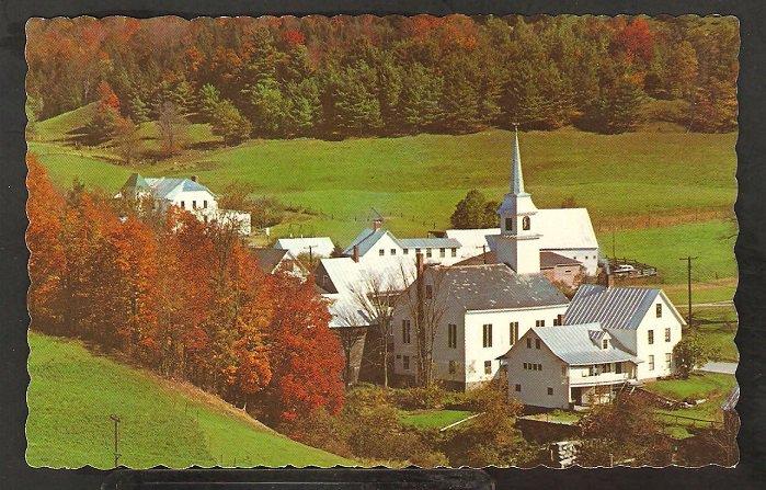 Splendid Autumn View Vermont Village Church Homes Fields 984