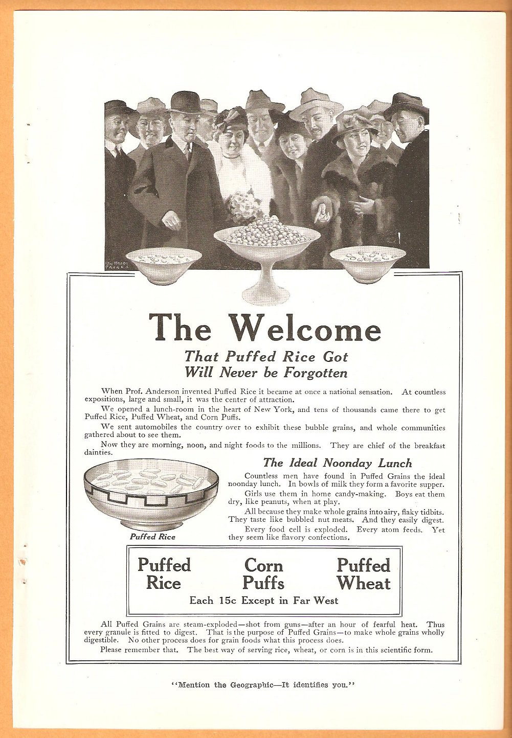 PUFFED RICE PUFFED WHEAT CORN PUFFS ORIGINAL 1918 AD