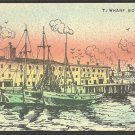 Artist Rendition T. Wharf Boston Ma. Fishing Boats Building 1013