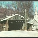 Covered Bridge Waitsfield Vermont Winter View Church Steeple Barn Postcard 1034