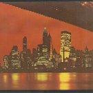 Splendid Night View of Lower Manhattan from Brooklyn Wall Street Chase Manhattan Bank 1052
