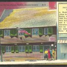 Linen Postcard Paul Revere House Boston MA Tourists Storefront 1048