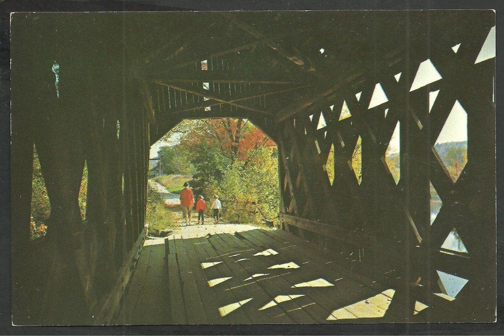 2 Children Father Walking Through a New Hampshire Covered Bridge Chrome Postcard 52