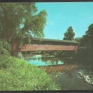 Lovely Summer View Burt Henry Bridge Covered Bridge North Bennington Vermont Chrome Postcard 1076