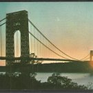 Sunset Silhouette George Washington Bridge New York New Jersey Chrome Postcard 1080