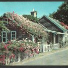 Rose Covered Cottage Picket Fence Nantucket Island Massachusetts Chrome Postcard 111