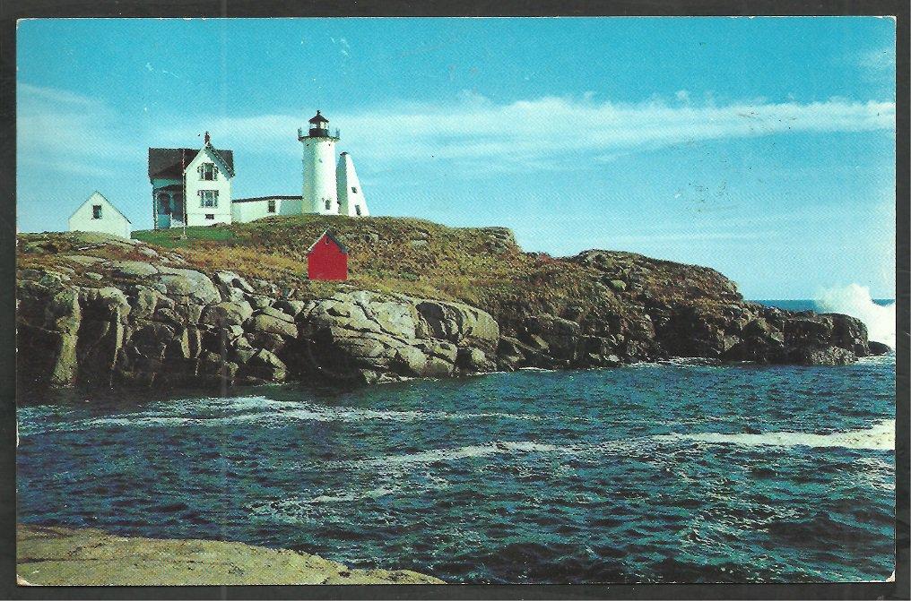 Nubble Light Lighthouse York Beach Maine Chrome Postcard 153