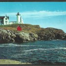 Nubble Light Lighthouse York Beach Maine Chrome Postcard 153