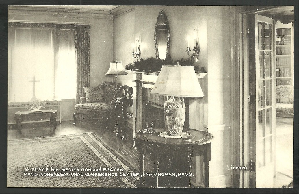 1940s Framingham MA Congregational Conference Center Library Furnishings Fireplace 175