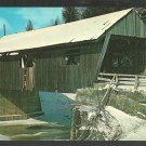Winter Scene Covered Bridge Johnson Vermont Lamoille County Chrome Postcard 1136