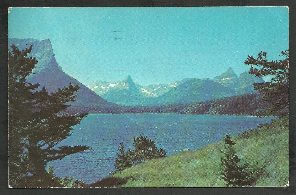 Lake St Mary Glacier National Park Bannf Alberta Canada 1953 Chrome Postcard 205