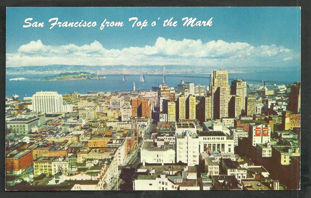 San Francisco California From Top O the Mark Bay Bridge Yerba Buena Oakland Chrome Postcard 211