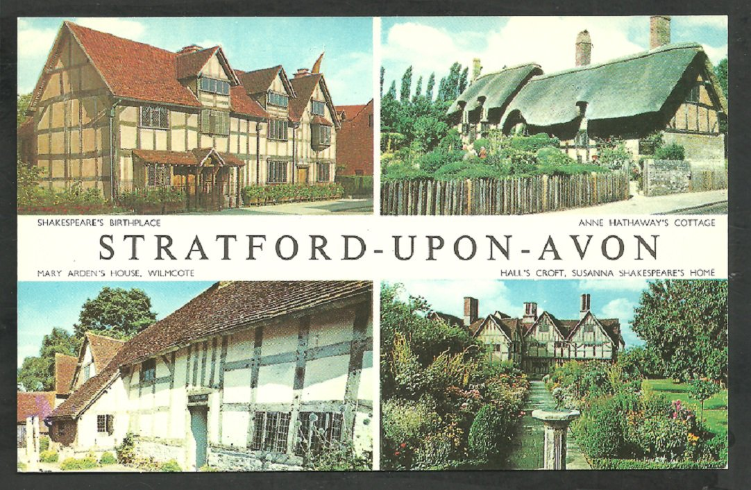 Multi View Stratford Upon Avon Shakespeare Hall's Croft Anne Hathaway Mary Arden Chrome Postcard 232