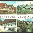 Multi View Stratford Upon Avon Shakespeare Hall's Croft Anne Hathaway Mary Arden Chrome Postcard 232