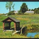 Wilmington Vermont Pond Small Covered Bridge Farm Silo Field Chrome Postcard 1196