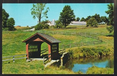 Wilmington Vermont Pond Small Covered Bridge Farm Silo Field Chrome Postcard 1196