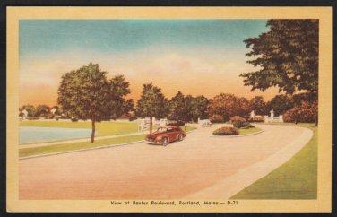 Classic Autos Cruising Baxter Boulevard Portland Maine Linen Postcard 308
