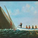 LANCING A SPERM WHALE C.S. RALEIGH NEW BEDFORD WHALING POSTCARD