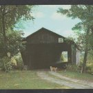 A Faithful Dog at the Covered  Mead Bridge Pittsford Vermont Chrome Postcard 1207