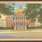 The State House Beacon Hill Boston Ma. Linen Postcard 1216