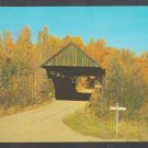 Golden Autumn Foliage Surrounding a Stowe Vermont Covered Bridge on a Dirt Road Chrome Postcard 1217
