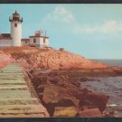 Eastern Point Lighthouse & Breakwater Gloucester MA Mass Cape Ann Chrome Postcard 352