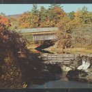 Autumn Foliage Covered Bridge & Dam Saxtons River Bellows Falls Vermont Chrome Postcard 1227