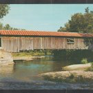 Old Covered Wood Bridge Over Gently Flowing Brook Waitsfield Vermont Chrome Postcard 1229