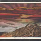 Sunrise Over Pikes Peak With A Steam Locomotive Heading West White Border Postcard 1233