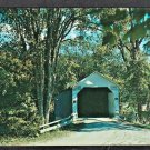 Shushan New York Cambridge New York Tree Lined Country Road White Covered Bridge Chrome Postcard