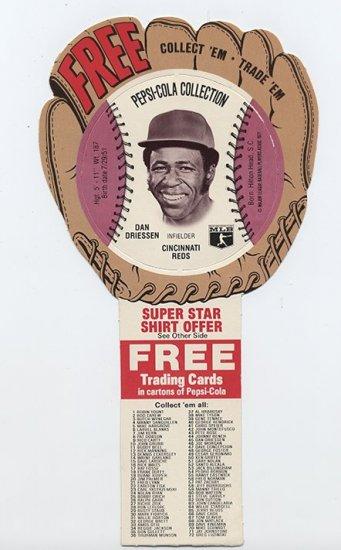 1977 Dan Driessen Pepsi Cola Baseball Glove Disc Mint!