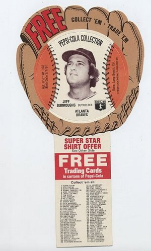 1977 Jeff Burroughs Pepsi Cola Baseball Glove Disc Mint!