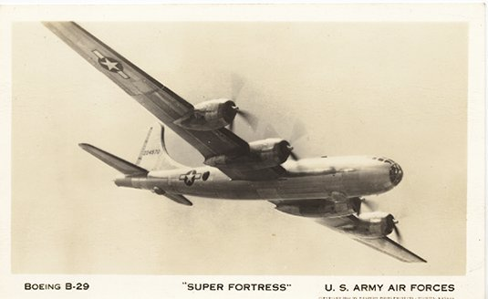 RPPC Super Fortress Boeing B-29 Post Card 1944