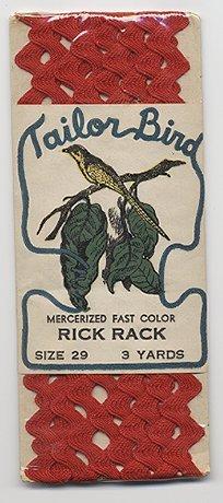 Vintage Red Rick Rack Tailor Bird Sealed Great Label