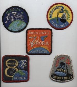 Mercury NASA Space Patches Schirra Grissom Glenn free ship