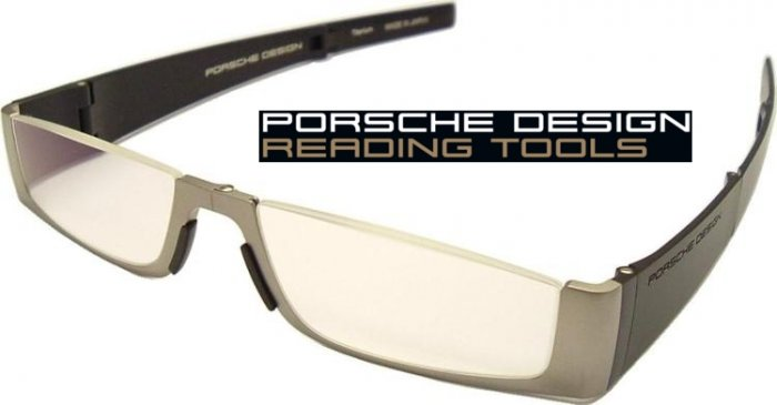 Porsche Design +2.00 Folding Reading Tools P'8810 Titanium Frame Matt Black sides with +2.00 Lens