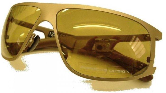 Porsche Design Sunglasses Model P'8457 Light Gold/Brown sides Gold Mirror Lens - Brand New